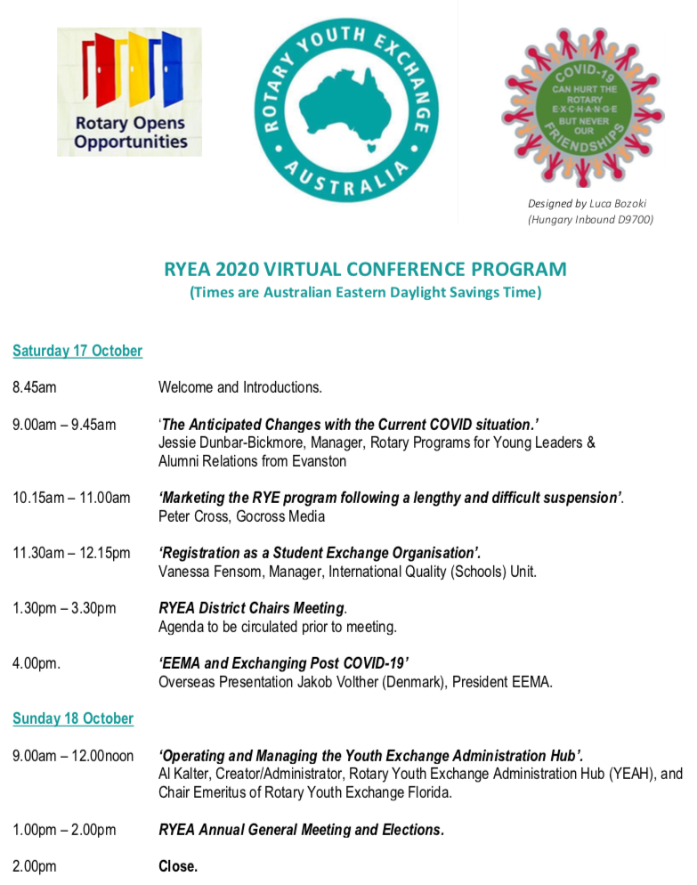 Rotary Youth Exchange Australia 2020 Virtual Conference Program